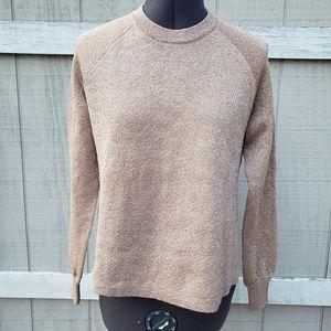 J.Crew Rose Gold Pink Metallic Split Hem Soft Crewneck Sweater